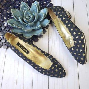 Escada Metallic Gold Star Navy Blue Heels 9 AA